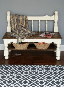 white twin bed headboard bench painted furniture repurposing upcycling