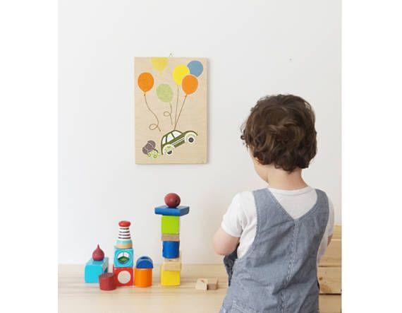 Balloon Nursery wall Art Handmade Wooden Nursery Art