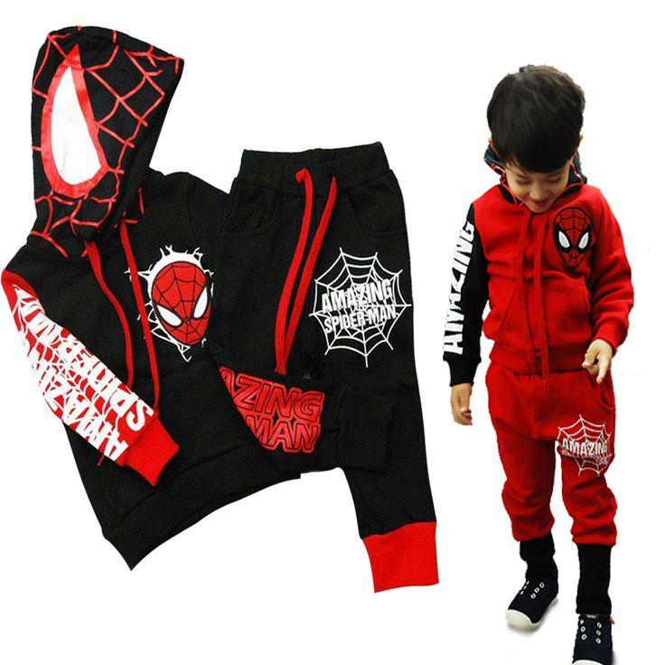 赤ちゃん男の子服セットフード付きトラックスーツの男の子服春スパイダーマン子供服子供コットン男の子トレーナースーツ
