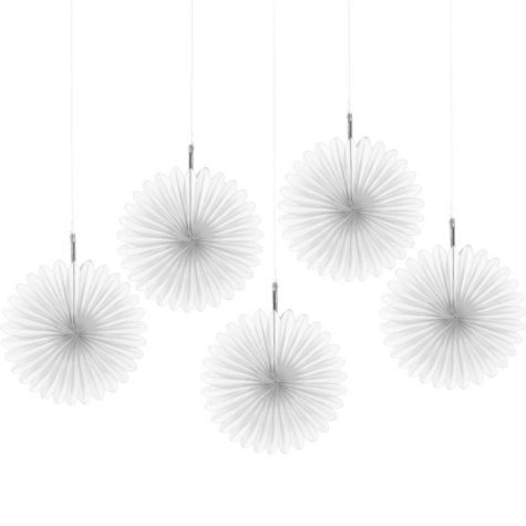 White Hanging Fans 6in 5ct - Party City Canada