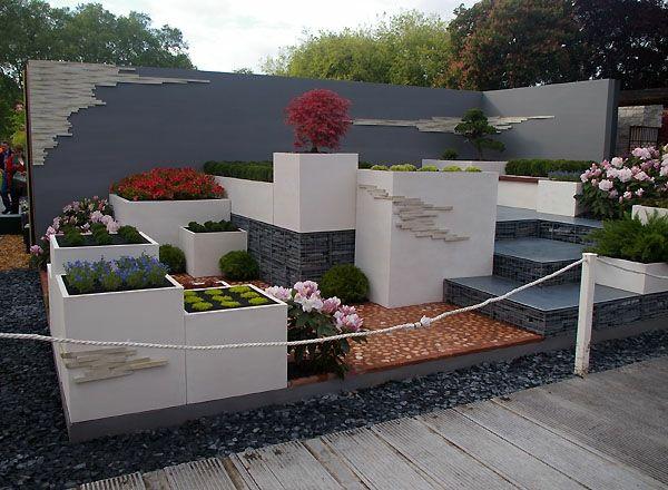 weiße garen gestaltung - steine und moderne pflanzen Garten - Vorgarten Moderne Gestaltung
