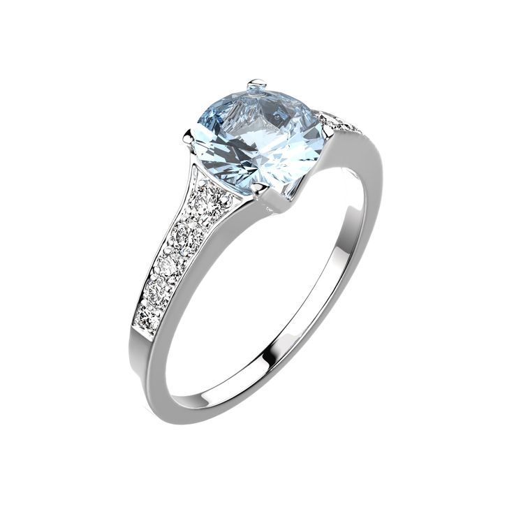 Agrandir Bague Victoria - Or blanc 18 cts, Aigue-marine et Diamants 1