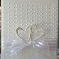 Beautiful wedding card  A2  Cuttlebug:  Swiss Dots Folder  Heart #2 2 Step Die     Scor-Pal  MS Doily Lace Punch  3mm flat pearls