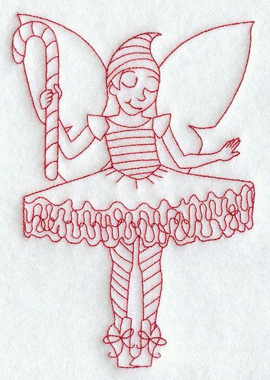 Dancing Christmas Fairy Redwork Stocking Fabric