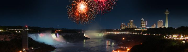 Fireworks over the skyline of Niagara Falls