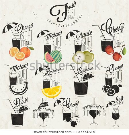 Retro vintage style Soft Drinks design. Set of Calligraphic titles and symbols for Fruit Drinks type. Hand lettering style. Orange, Melon, Apple and Cherry illustrations. Typographic. Vector