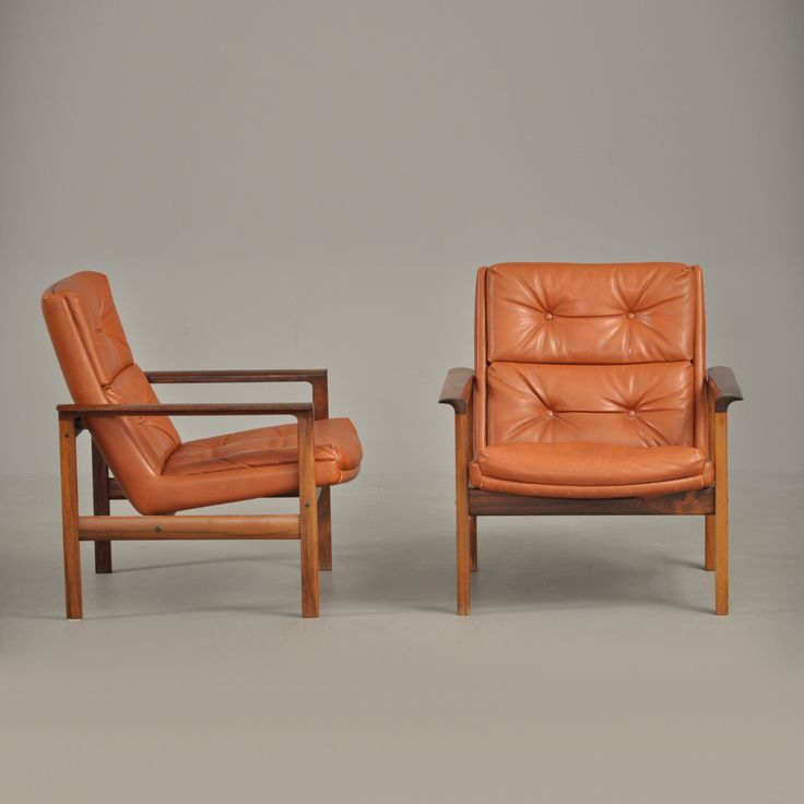 Fredrik A. Kayser; Teak and Leather Lounge Chairs for Vatne Lenestolfabrikk, 1965.