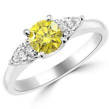 VS1 Canary Yellow Diamond 3 Stone Engagement Ring