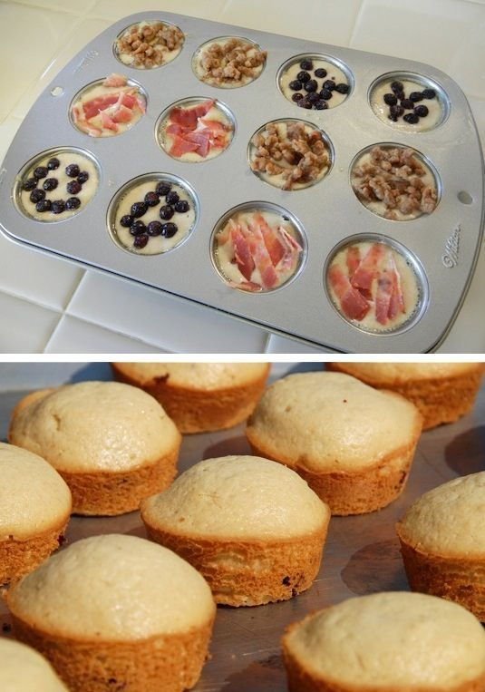 On-the-go pancake muffins. Stuff them with your favorite breakfast ingredients (bacon, sausage, fruit) + 29 other Surprise-Inside Cake & Treat Ideas!!