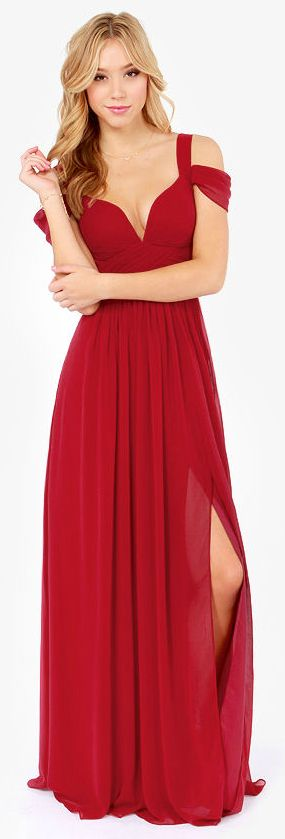 Stunning & Elegant Wine Red Maxi Dress