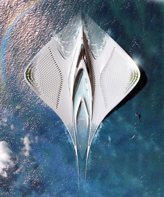 futuristic-floating-city : Futuristic Floating City Looks Like A Manta Ray, Is Completely Self-Sufficient And Can House 7,000 People