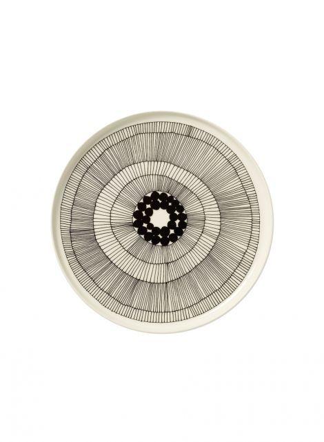 Oiva/siirtolapuutarha-lautanen (valkoinen,musta) |Sisustustuotteet, Keittiö, Posliinit, Lautaset | Marimekko