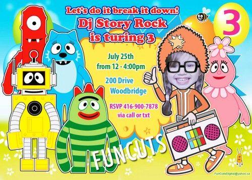 Yo Gabba Gabba Invitation, Printable Birthday Invitation, Kids invite