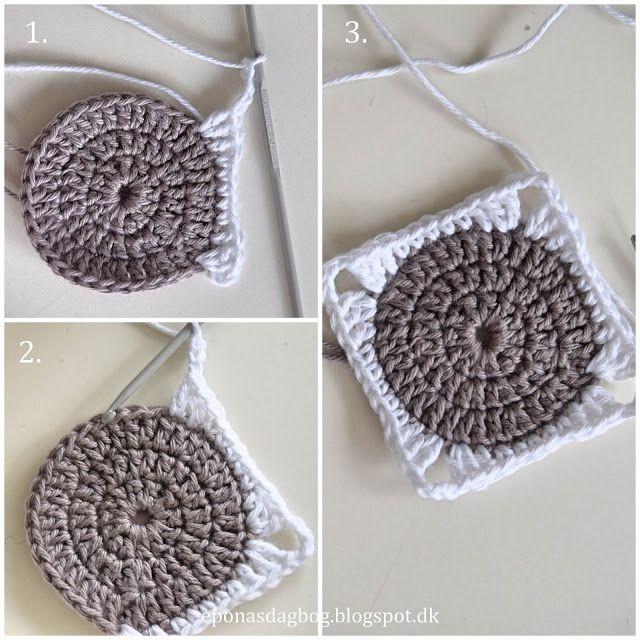 Hæklet firkant med rund midte   crochet   Plaid crochet ...