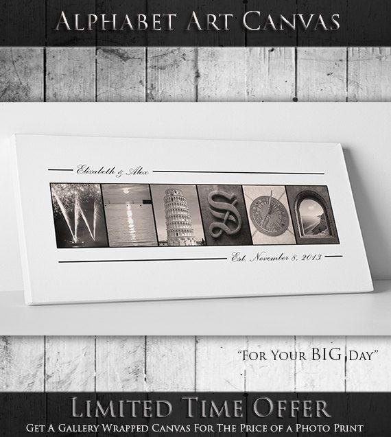 Personalized WEDDING GUEST BOOK - Alphabet Art Photos Guest Book, Unique Wedding Guest Book Alternative, Wedding Decoration - Canvas
