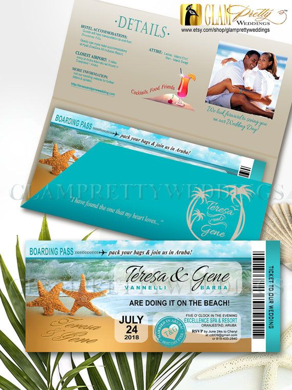 Printed Starfish Boarding Pass Sand Starfish Beach Wedding