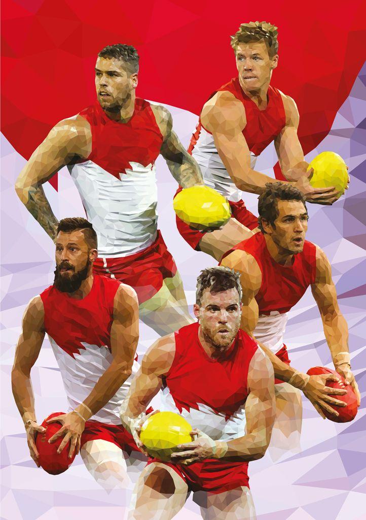 2014 Sydney Swans, Triangle Art, #BuddyFranklin, #LukeParker, #AFL by Ross McRae Design
