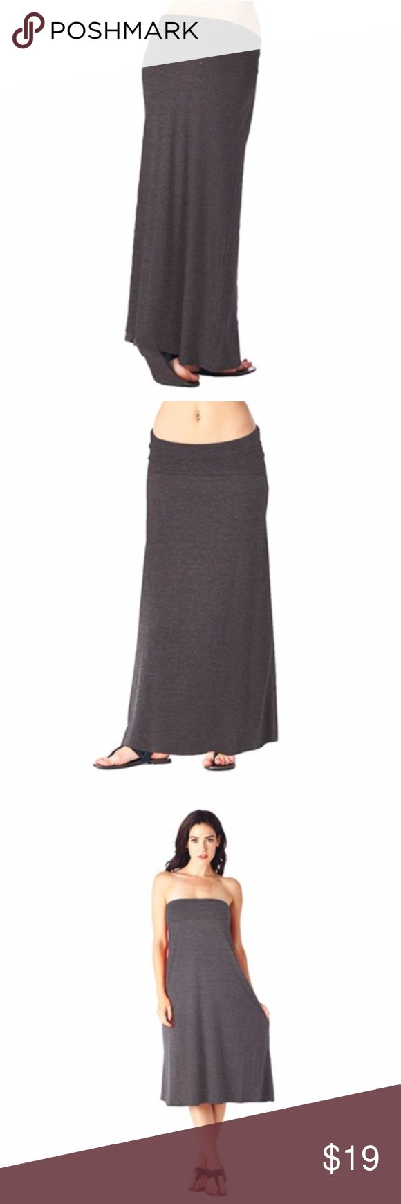 """Plus Size Charcoal Grey Maxi Skirt This lovely piece can be worn as a maxi skirt or pulled up over the chest as a summer dress! The material is an incredibly soft blend of 95% Rayon, 5% Spandex. This skirt has a fold-over waistband and flattering shape. It measures about 40"""" long and can comfortably stretch up to 46"""" around the waist. #10WJ19 Skirts Maxi"""