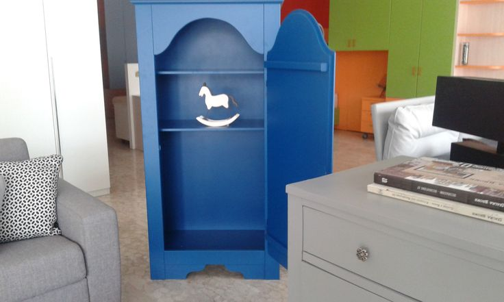 wood forniture blue vintage