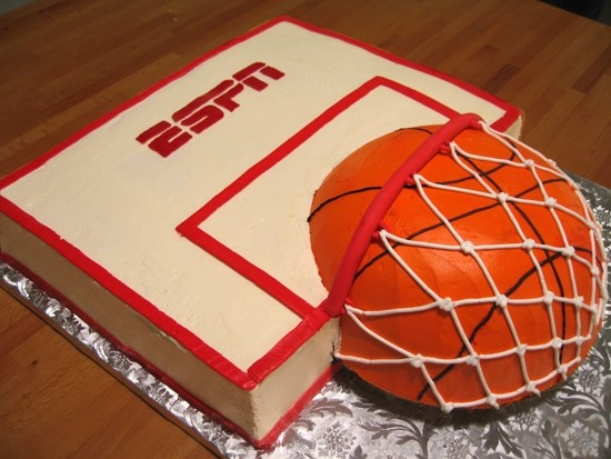 March Madness basketball party. What a great cake! Am i dreaming? Is this actually a real cake? or is that a basketball...?