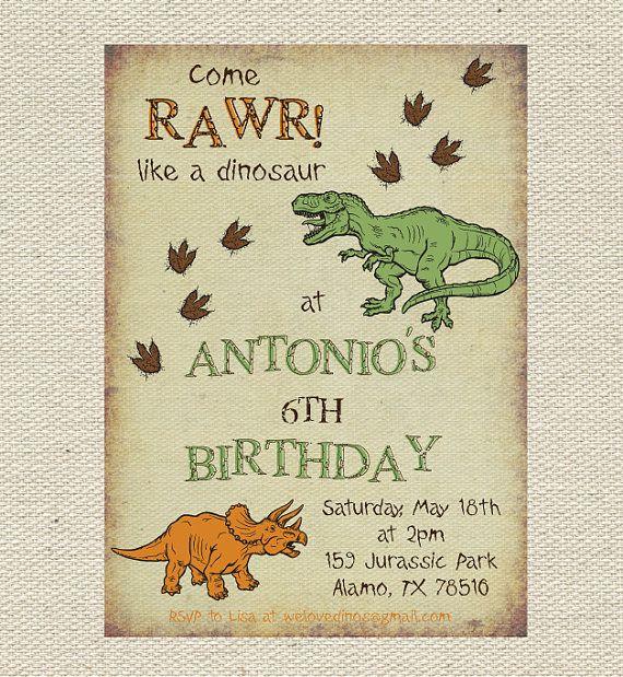 the 25+ best dinosaur party invitations ideas on pinterest, Birthday invitations