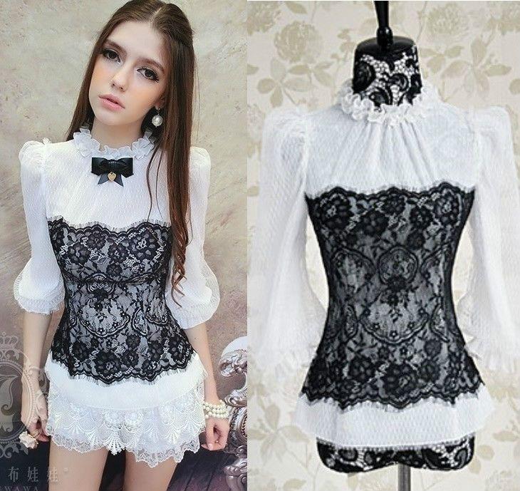 Kawaii Cute Sweet Gothic Lolita Princess Lace Corset Blouse Top Shirt White S~XL #OwnBrand #Blouse #Casual