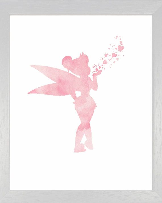 Pink Tinkerbell DIY Art Print Pink Watercolor by JoshandDavids