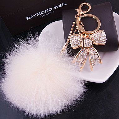 Crystal rhinestone fox fur ball car keychain bag hangings gift women's-inKey Chains from Apparel & Accessories on Aliexpress.com