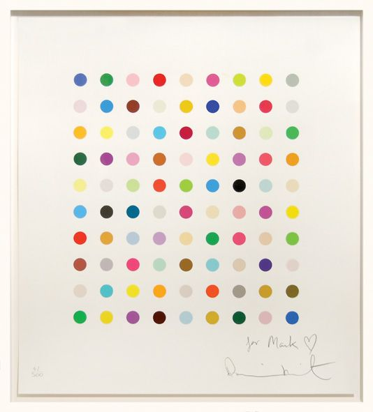 Damien Hirst - Ninety coloured spots  Edition of 500. Signed and inscribed in pencil lower right and numbered lower left by Hirst. This print was not issued commercially but intended for presentation by Hirst to friends and assistants.