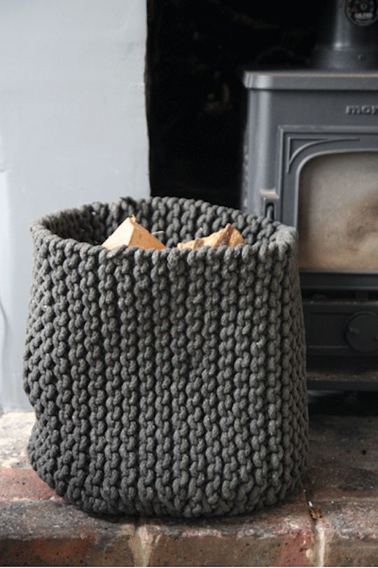 This knitted storage bin is so cool! A mix of textures in the home guarantees a lively living space!