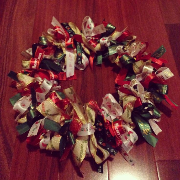 My favourite season! This Christmas Wreath was so easy to make out of ribbon and looks so good hung up.