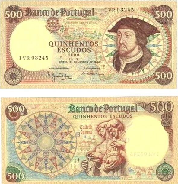 Portugal - 500 escudos – D. João II Entrada em circulação: 04-11-1966 Retirada de circulação: 29-01-1988