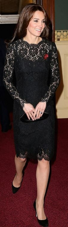 Who made Kate Middleton's black scallop lace dress?