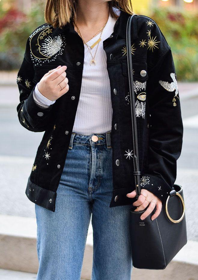 astronomy velvet jacket stars étoiles velours astronomie veste h&m mom jean asos bottines chaussettes zara