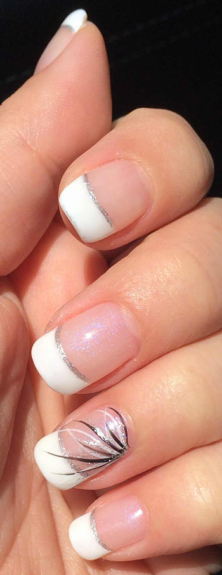 Gel nails. Opal base, white tips, silver line and black/white/silver design. Nai...