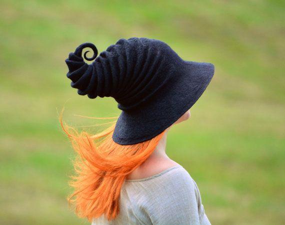 Black Halloween Witch Hat. Wizard Costume Hat. Felt Hat. Cosplay Hat. LARP