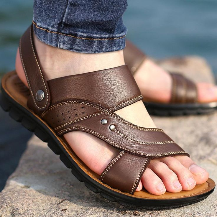 <b>Beach</b> shoes ankle-wrap <b>male sandals</b> casual <b>flip flops</b> split leather ...