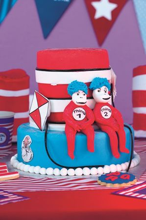 Cat in the Hat party: Two round cakes make this hat cake, and the red, blue and white roll-out icing provides the detail.