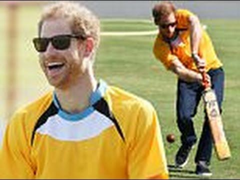 Howzat?! Prince Harry shows off his cricket skills in St Lucia