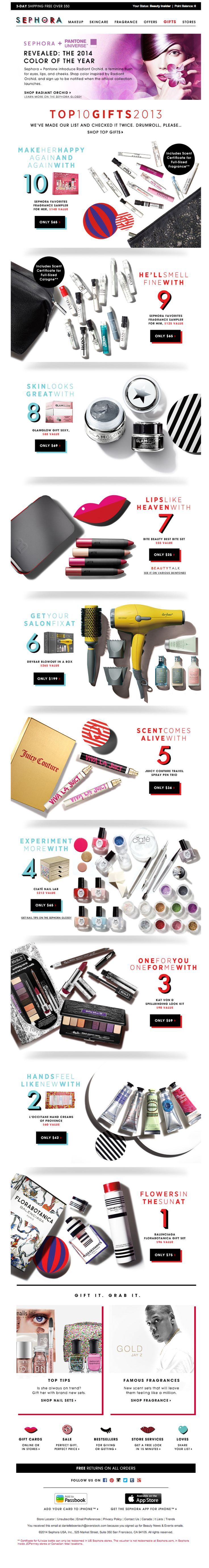Sephora email top gifts 2013