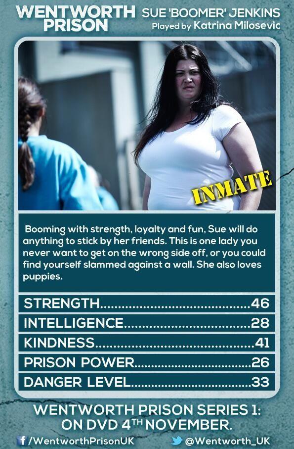 "Katrina Milosevic as Sue ""Boomer"" Jenkins - Wentworth"