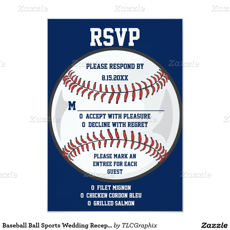 """Baseball Ball Sports Wedding Reception RSVP 3.5"""" X 5"""" Invitation Card This unique wedding reception RSVP response card features a baseball background with blue and white text. Great for a baseball fan, coach or player - batter, pitcher, base man or catcher.  Can also be used for birthday, graduation, retirement, anniversary or a baseball banquet or event."""