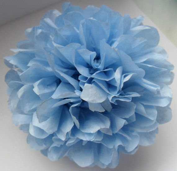 1 Light Blue Tissue Paper Pom Pom  Wedding by PaperPomPoms on Etsy