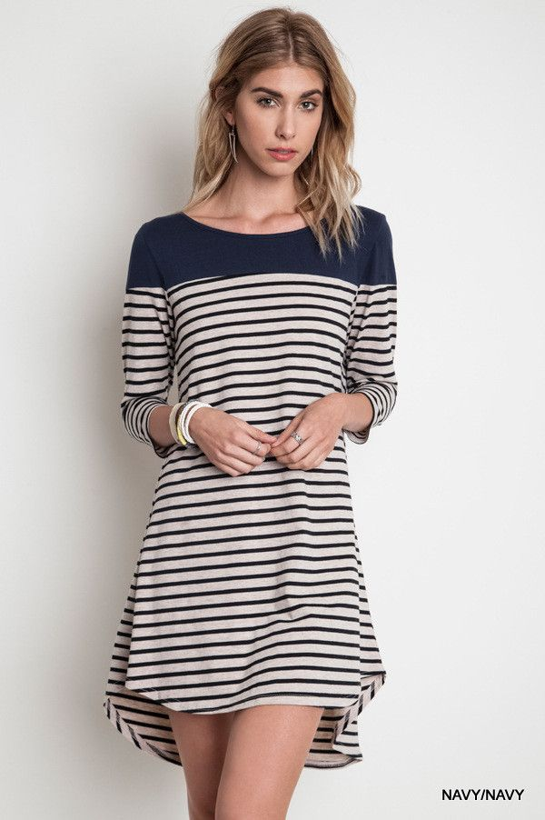 - Standard Fit - High in the Front; Low in the Back - Striped with Solid Navy on Top - Imported