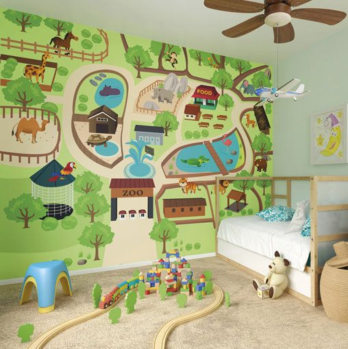 Large Childrenu0027s Zoo Map Photo Wallpaper Wall Mural Childrenu0027s Bedroom Decor,  Nursery Wall Art, Part 54