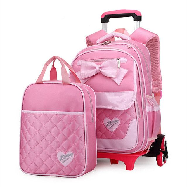 Korean Style Children Backpack Kids Bow Cute Pink A set Detachable Trolley Bookbag Fashion Girls Schoolbags Mochilas Escolares
