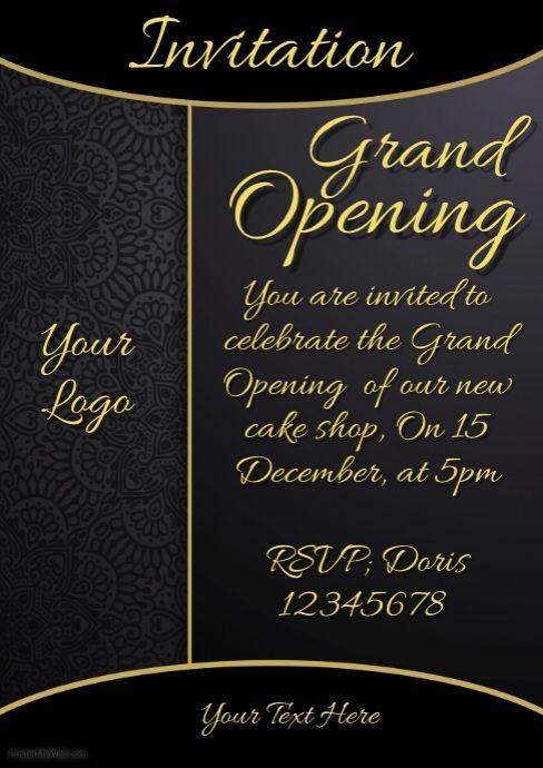 Invitation Grand Opening Restaurant Menu Card Design