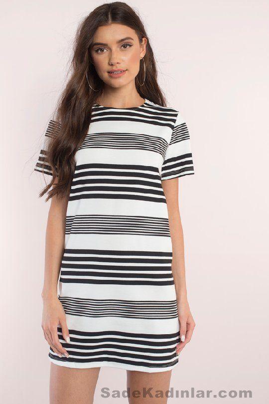 Günlük Elbise 2018 Şık ve Rahat Yazlık Elbiseler beyaz kısa siyah çizgili | SadeKadınlar - Moda