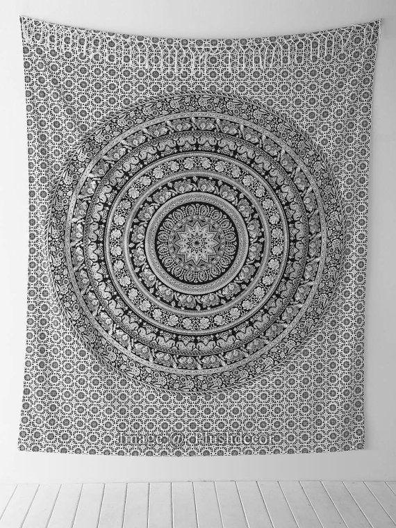 Black & white Indian Mandala Tapestry Boho by plushdecor on Etsy