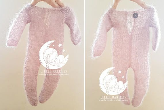 footed romper / footies romper  photo props fuzzy mohair
